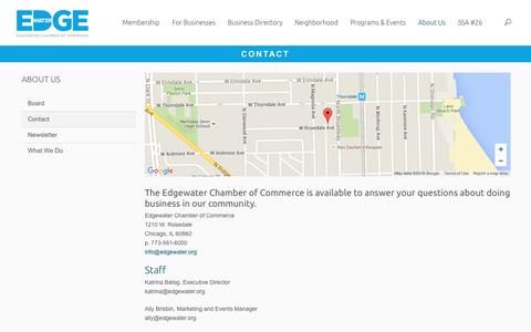 Screenshot of Contact Page edgewater.org - Contact | Edgewater Chamber of Commerce - captured Jan. 26, 2016