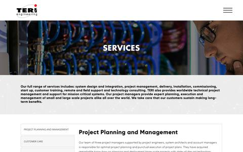 Screenshot of Services Page terieng.co.rs - SERVICES – Teri Engineering - captured Oct. 20, 2018