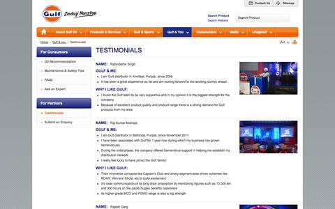 Screenshot of Testimonials Page gulfoilindia.com - Gulf :: Testimonials - captured Oct. 3, 2014