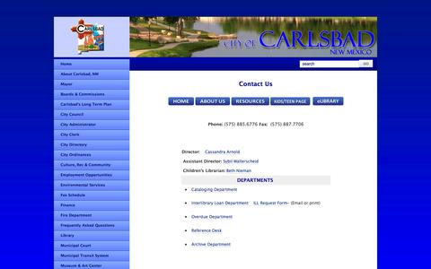 Screenshot of Contact Page cityofcarlsbadnm.com - Carlsbad Public Library Contacts - captured Oct. 2, 2014