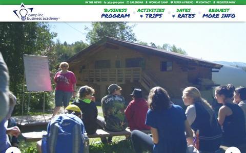 Screenshot of Home Page campinc.com - Camp Inc. Business Academy   Summer Program in Boulder, CO - captured Dec. 7, 2015