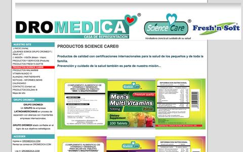 Screenshot of Products Page dromedica.com - PRODUCTOS SCIENCE CARE® - DROMEDICA - captured Feb. 8, 2016