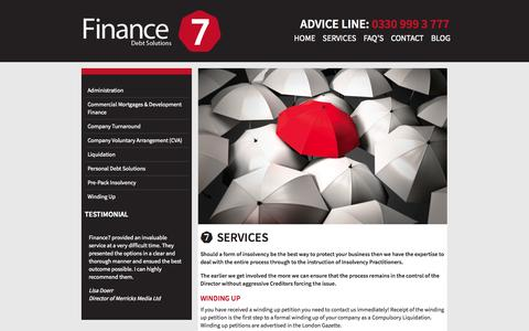 Screenshot of Services Page finance7.co.uk - Services - Finance7 - captured Oct. 5, 2014