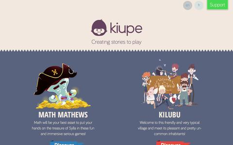 Screenshot of Home Page kiupe.com - Interactive and emotional story telling – video games by Kiupe - - captured Sept. 30, 2014