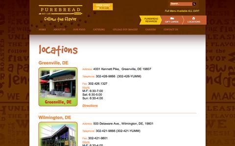 Screenshot of Locations Page purebread.com - locations - Purebread Deli - Bakery - CafePurebread Deli – Bakery – Cafe - captured Oct. 3, 2014