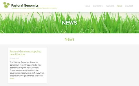 Screenshot of Press Page pastoralgenomics.com - News | Pastoral Genomics - captured Dec. 7, 2015