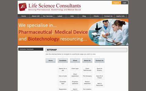 Screenshot of Site Map Page lsc.ie - Life Science Consultants - Sitemap - captured Jan. 29, 2016