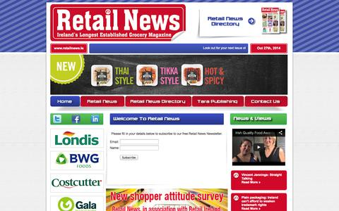 Screenshot of Signup Page retailnews.ie - Retail News : Welcome To Retail News : One Stop Shop For Irish Grocery Retailers - captured Oct. 27, 2014