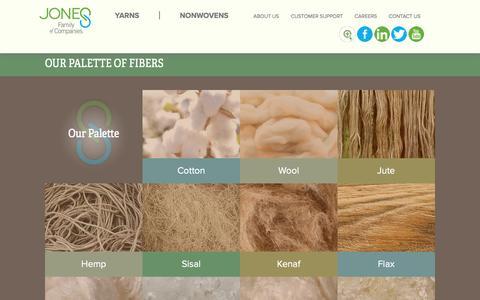 Screenshot of Products Page jonesyarn.com - Our Palette of Fibers   Jones Family of Companies   Yarn & Fiber - captured Nov. 27, 2016