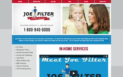 Screenshot of Services Page joefilter.com - Filter Replacement and Maintenance Services | Joe Filter - captured Sept. 30, 2014
