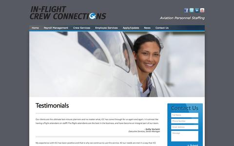 Screenshot of Testimonials Page inflightcrewconnections.com - Testimonials | | Inflight Crew Connections| Inflight Crew Connections - captured Nov. 17, 2015