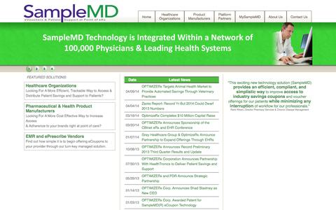 Screenshot of Home Page samplemd.com - SampleMD - Alternative Sampling & Support System - captured Oct. 4, 2014