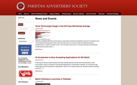 Screenshot of Press Page pas.org.pk - Pakistan Advertisers Society | Archive | News and Events - captured July 12, 2017
