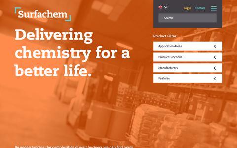 Screenshot of Home Page surfachem.com - Home | Surfachem UK - captured Sept. 21, 2018