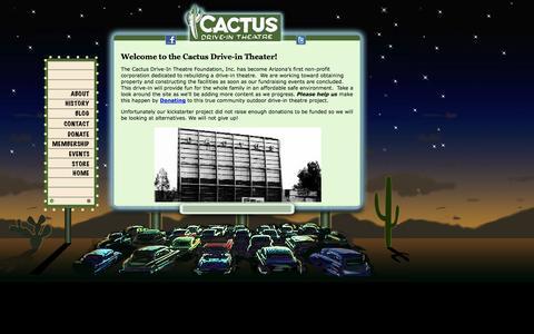 Screenshot of Home Page cactusdriveintheatre.com - Cactus Drive-in - captured Oct. 1, 2014