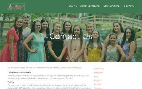 Screenshot of Contact Page delanco.org - Contact Us – Delanco Camp - captured Oct. 12, 2017