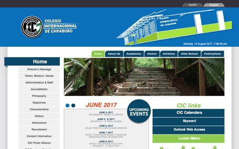 Screenshot of Home Page cic-valencia.org.ve - Colegio Internacional de Carabobo- Home - captured Aug. 14, 2017