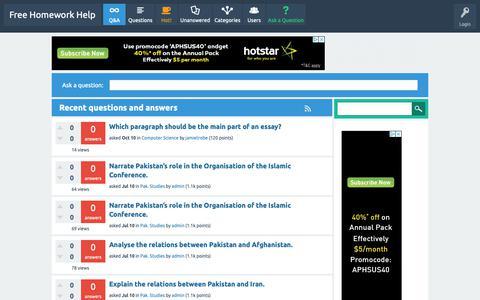 Screenshot of Home Page onlineacademy28.com - Free Homework Help - captured Oct. 21, 2018