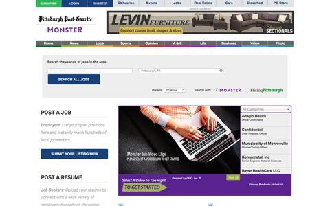 Screenshot of Jobs Page post-gazette.com - Jobs | Pittsburgh Post-Gazette - captured Jan. 13, 2016