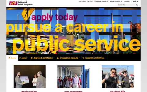 Screenshot of Contact Page asu.edu - Home | College Of Public Programs - captured Sept. 18, 2014