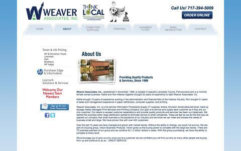 Screenshot of About Page weaverassociatesinc.com - Weaver Associates, Inc. - Ink & Toner Supplies, Copy & Print Services in Lancaster County, Pennsylvania (PA) - captured Oct. 1, 2014
