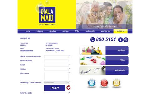 Screenshot of Contact Page dialamaid.ae - Contact Dialamaid for Commercial & Residential Cleaning Services - captured Sept. 30, 2014