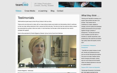 Screenshot of Testimonials Page team360.info - Testimonials | Team360 - captured Oct. 26, 2017