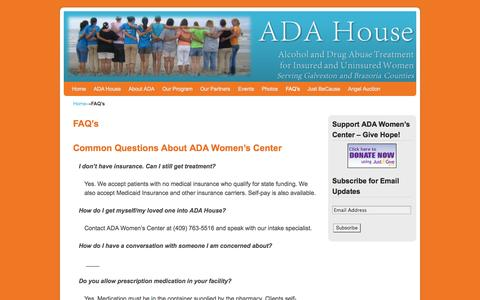 Screenshot of FAQ Page adawomenscenter.org - FAQ's | ADA Womens Center - captured Sept. 30, 2014