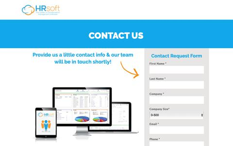 Screenshot of Contact Page hrsoft.com - Contact Us - HRsoft - captured Feb. 22, 2019