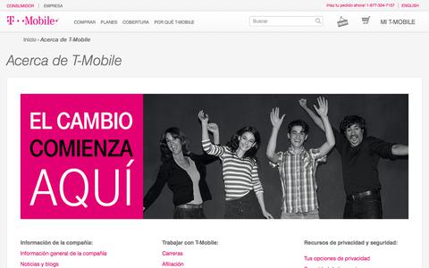 Screenshot of About Page t-mobile.com - Compañía de telefonía móvil | Servicios de telefonía celular | T-Mobile - captured July 13, 2017