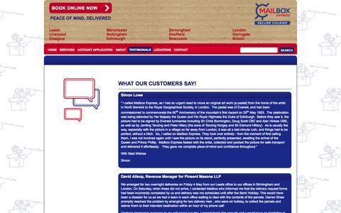 Screenshot of Testimonials Page mailboxexpress.co.uk - Testimonials | City Center Same Day Courier Service - captured Sept. 30, 2014