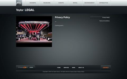 Screenshot of Privacy Page taylorinc.com - Legal - Taylor Group Inc. - captured Oct. 9, 2014