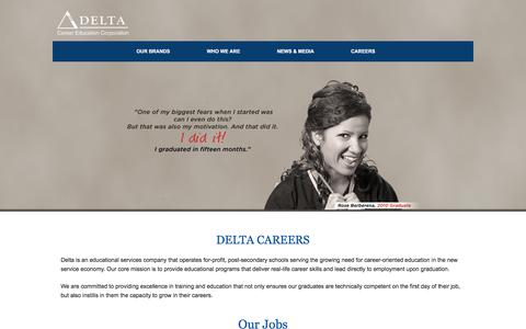 Screenshot of Jobs Page deltaed.com - Careers | Delta Career Education Corporation - captured Oct. 25, 2017