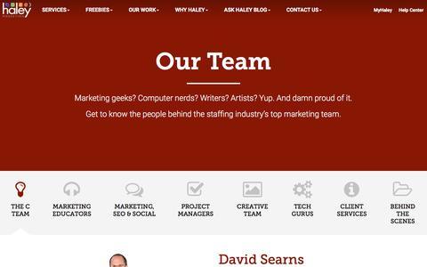 Screenshot of Team Page haleymarketing.com - Our Team - Haley Marketing Group - captured April 30, 2016