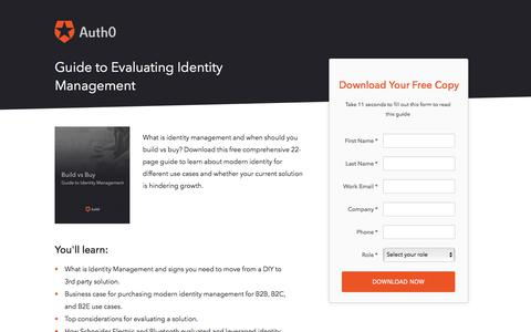 Screenshot of Landing Page auth0.com - Build vs Buy: Guide to Evaluating Identity Management | Auth0 - captured March 4, 2018