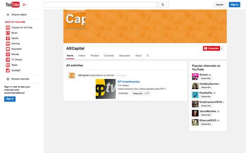 Screenshot of YouTube Page youtube.com - AXCapital  - YouTube - captured Oct. 27, 2014