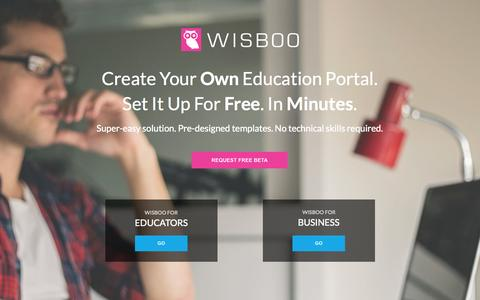 Screenshot of Home Page wisboo.com - The Simplest Way to Create Your Own Online Education Portal | Wisboo - captured Oct. 2, 2014