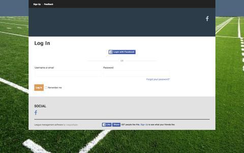 Screenshot of Login Page leagueapps.com - Login : National Flag Football League of Atlanta - captured April 25, 2016