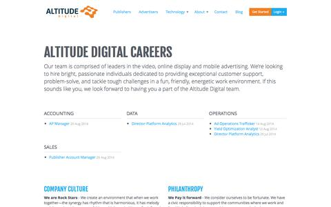 Screenshot of Jobs Page altitudedigital.com - Careers Archive | Altitude Digital - captured Sept. 13, 2014