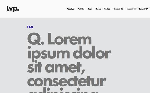 Screenshot of FAQ Page londonvp.com - FAQ — LVP - captured Sept. 17, 2019