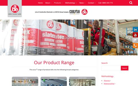 Screenshot of Products Page abe.co.za - Product Range   a.b.e.® Construction Chemicals - captured Oct. 9, 2017