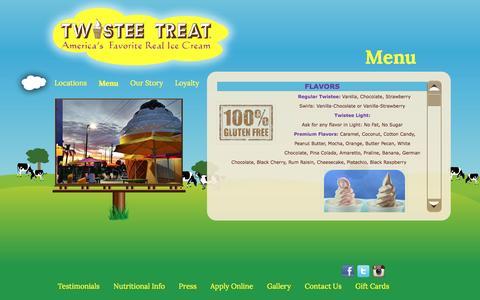 Screenshot of Menu Page twisteetreat.com - Menu |Soft Serve Ice Cream Orlando | Frozen Yogurt Tampa - captured Dec. 2, 2016