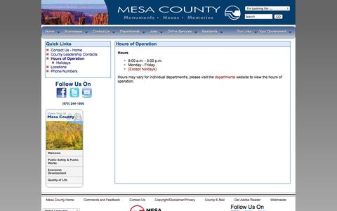 Screenshot of Hours Page mesacounty.us - Hours of Operation - Mesa County, Colorado - captured Oct. 27, 2014