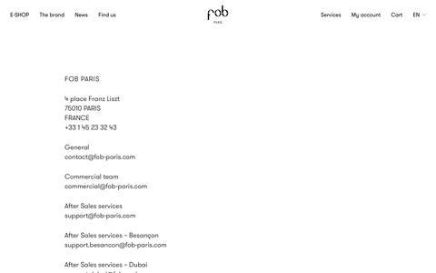Screenshot of Contact Page fob-paris.com - FOB Paris Contact - captured Nov. 6, 2018