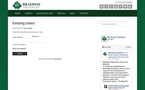 Screenshot of Login Page bradwayproperties.com - Search Northern Nevada Properties - Bradway Properties - captured July 7, 2016