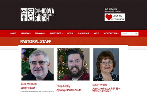 Screenshot of About Page cnchurch.org - Pastoral Staff – Cordova Neighborhood Church - captured Nov. 12, 2016