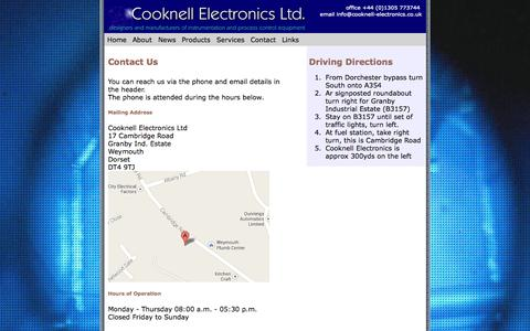 Screenshot of Contact Page cooknell-electronics.co.uk - Contact Us - captured Sept. 30, 2014