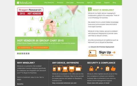 Screenshot of Home Page mindlinksoft.com - MindLink. Secure Enterprise Chat for Lync & Skype for Business - captured Dec. 1, 2015