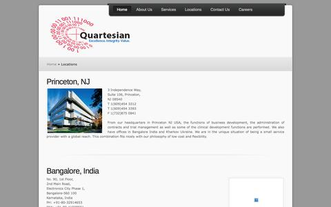 Screenshot of Locations Page quartesian.com - Quartesian | Locations - captured Sept. 30, 2014