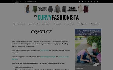 Screenshot of Contact Page thecurvyfashionista.com - The Curvy Fashionista | Contact | The Curvy Fashionista - captured Dec. 5, 2015